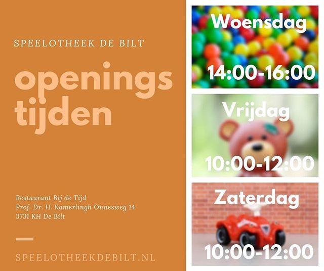 Speelotheek De Bilt draait 3 keer per week! 🤩  #SpeelotheekDeBilt.nl #speelgoed #toylibrary #speelotheek #DeBilt #Bilthoven #openingstijden